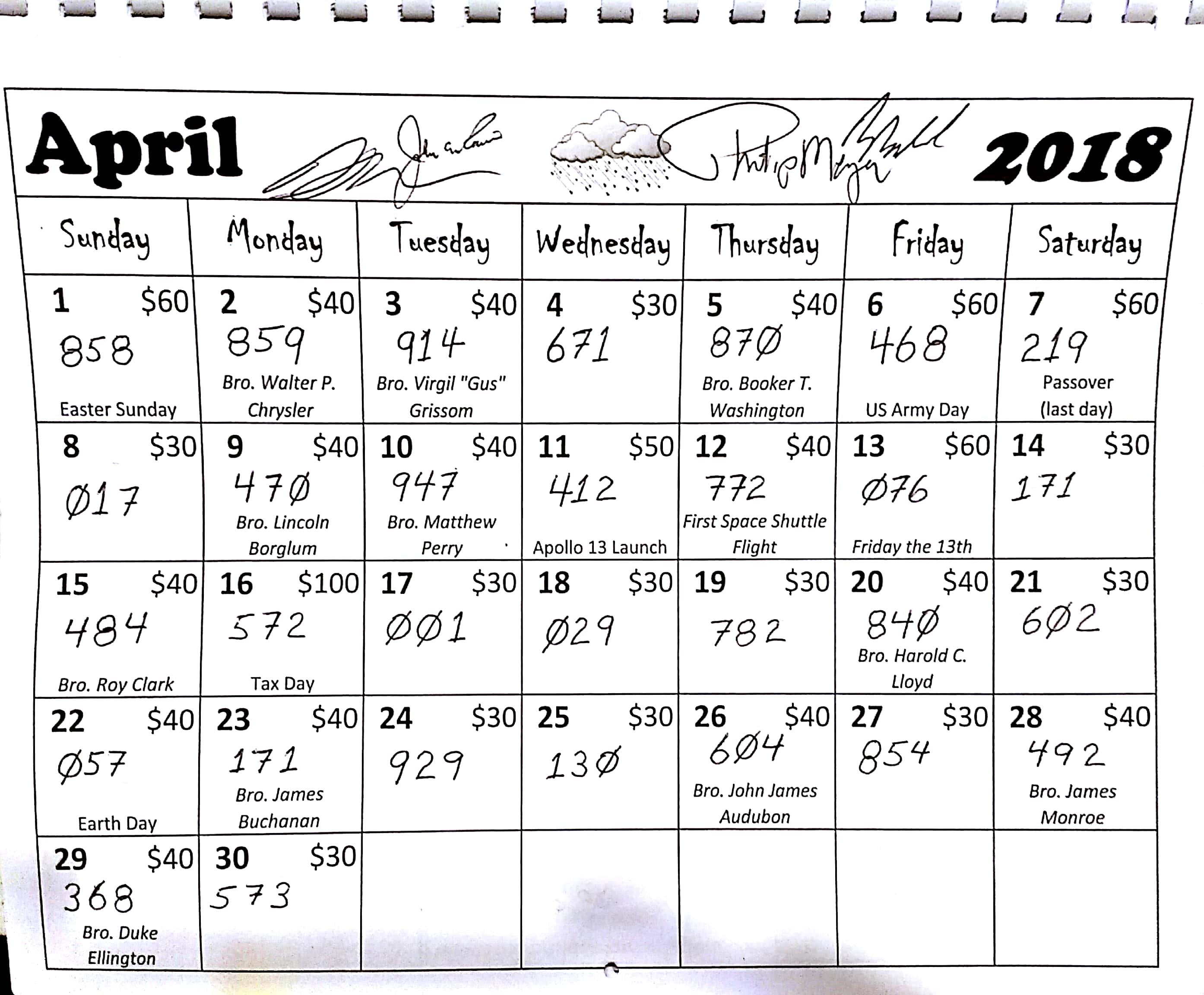 Ilates Monthly Calendar Results : Monthly calendar raffle results « mariners lodge