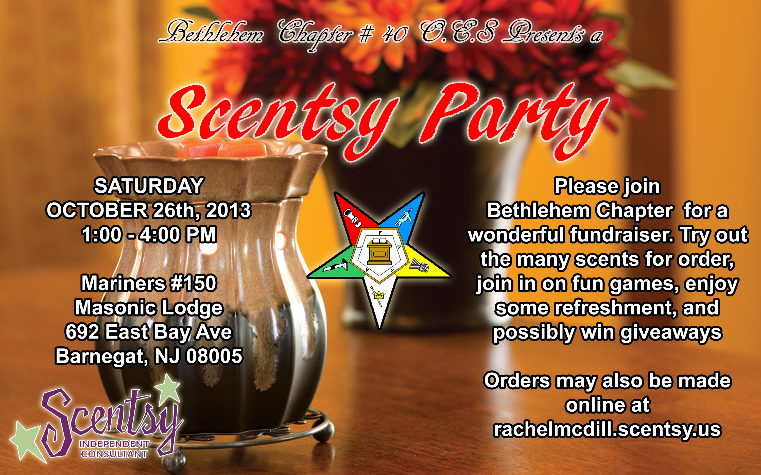 October 2013 Mariners Lodge 150 Barnegat NJ – Scentsy Party Invitation