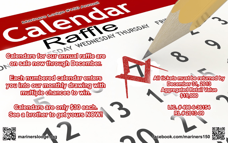 Monthly Calendar Raffle : Raffle calendars on sale « mariners lodge