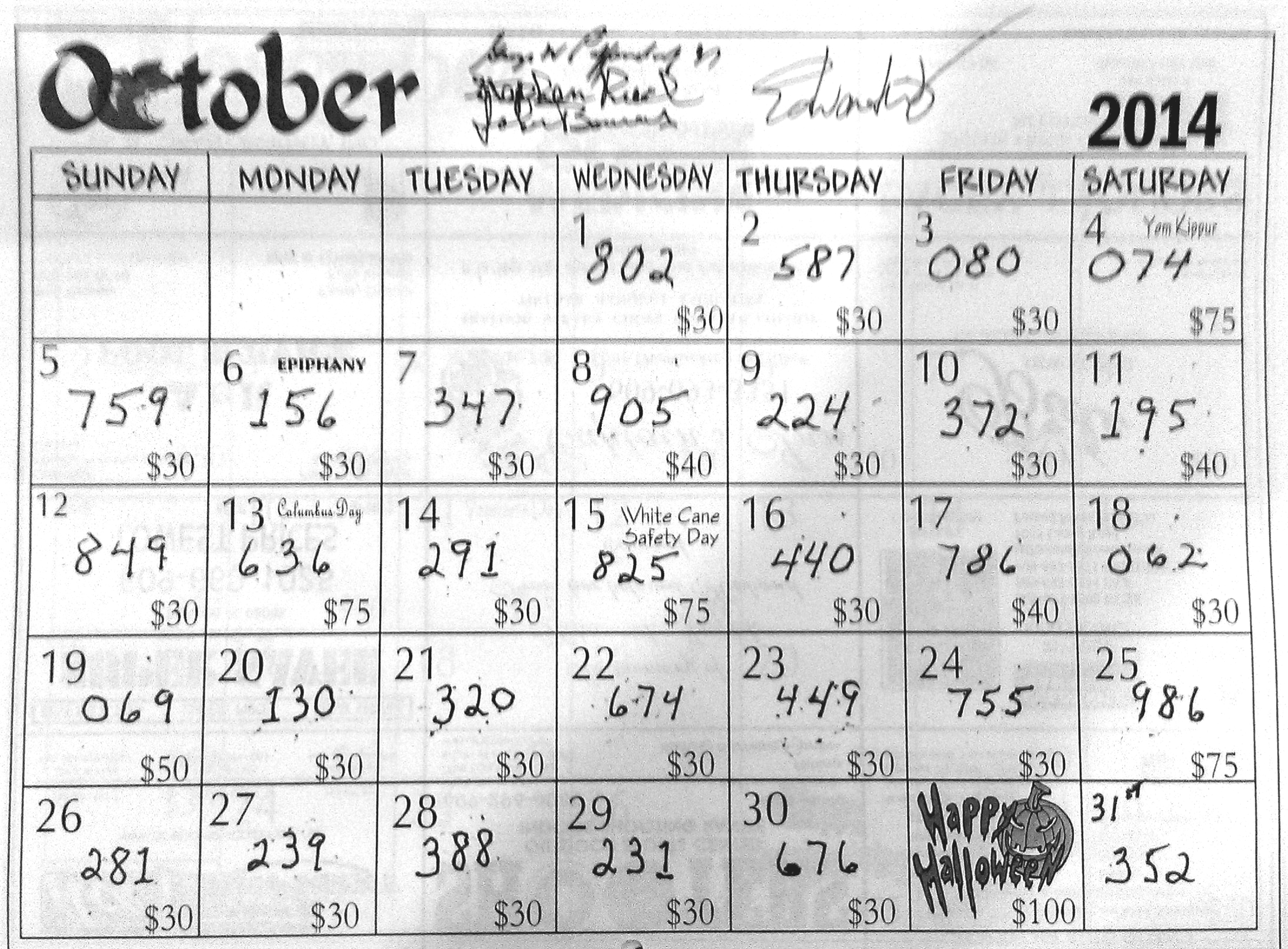 Monthly Calendar Raffle : Monthly calendar raffle results « mariners lodge