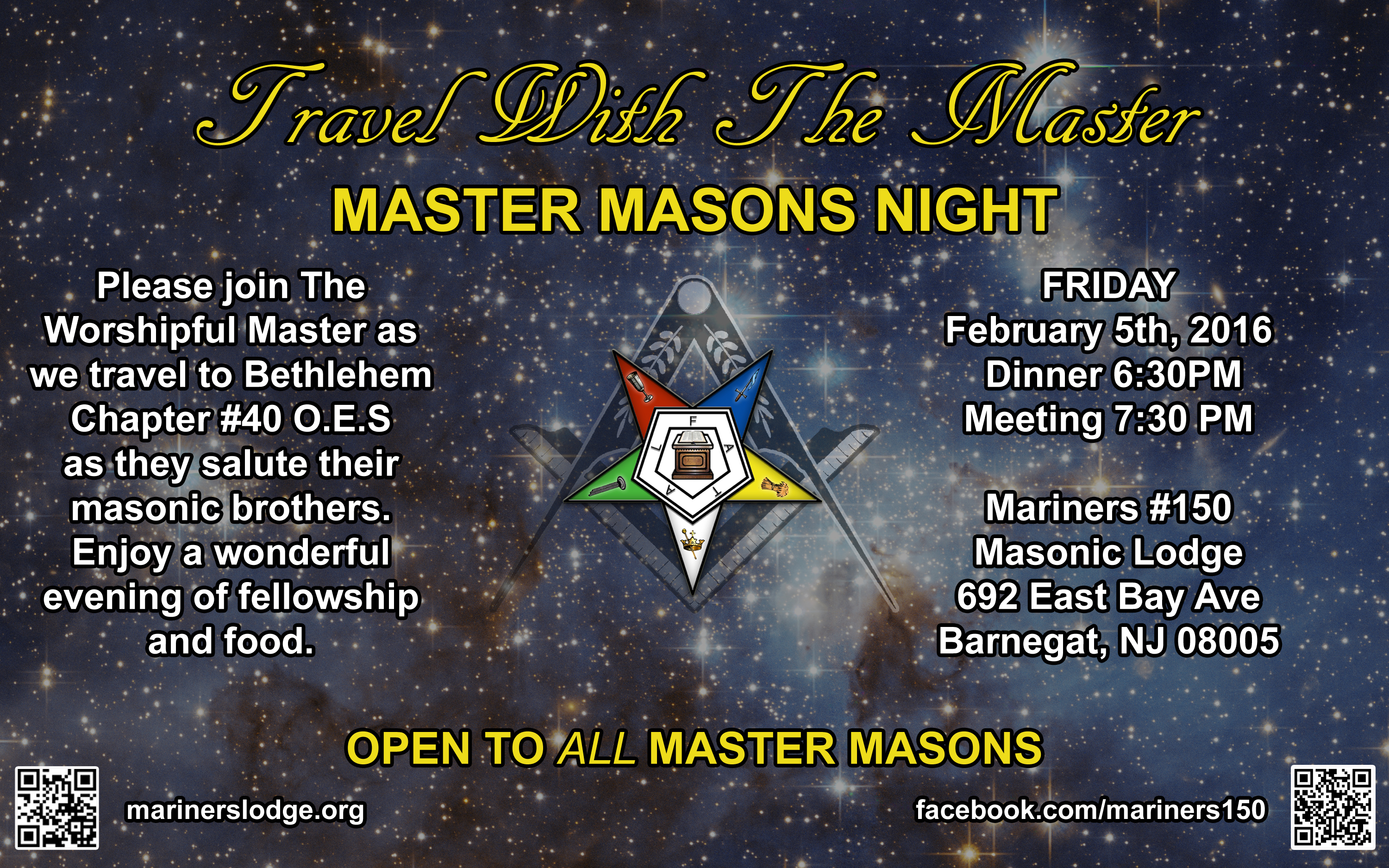travel with the master MASTER MASON'S NIGHT
